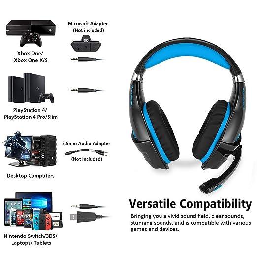 Amazon.com: Auricular para juegos para Xbox One, PS4 ...