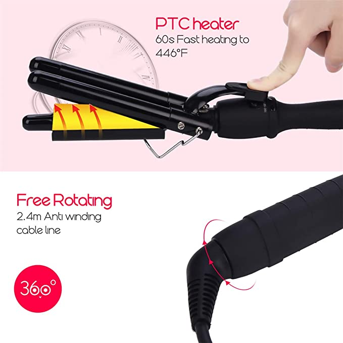 3 Barrel Curling Iron Wand Herramienta de Peinado del Pelo Rizador de Calefacción Rápida con Pantalla LCD - Incluye un Guante Anti Escaldado (19mm): ...