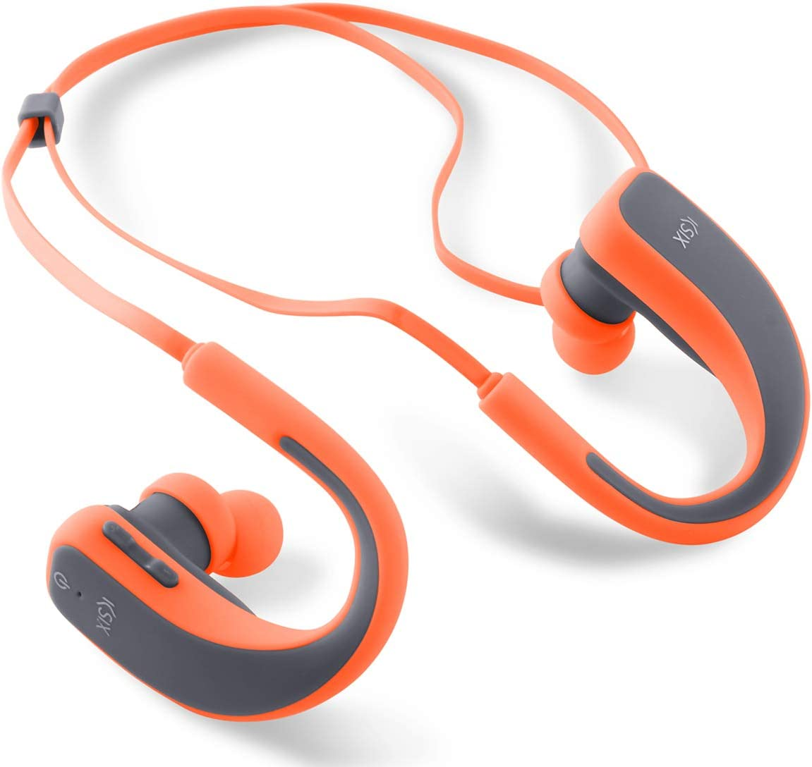 Ksix Go&Play Sport 2 - Auriculares inalámbricos, micrófono Integrado, Color Gris y Naranja