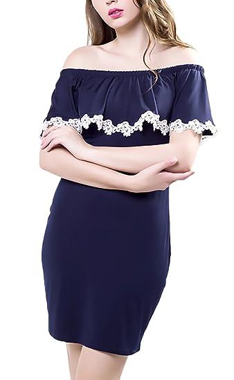 1ca4f7250bac HaiDean Vestidos Verano Mujer Cortos Elegante Encaje Barco Cuello ...