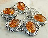 Huge..!! 30 Grams Sterling Silver Overlay Bracelet with Genuine Baltic Amber Gemstone, Fashion Bracelet Jewelry offers