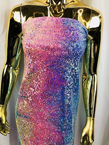 - Lycra Spandex Fabric - Pink - Iridescent 4 Way Stretch Foil Metallic 60