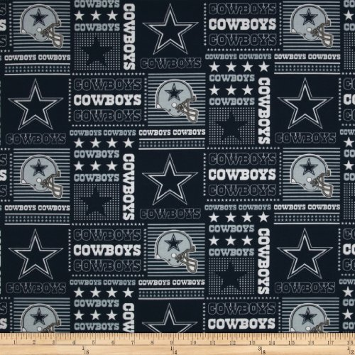 Fabric Traditions NFL Cotton Broadcloth Dallas Cowboys Patchwork Blue/White Fabric by The Yard, Blue/White