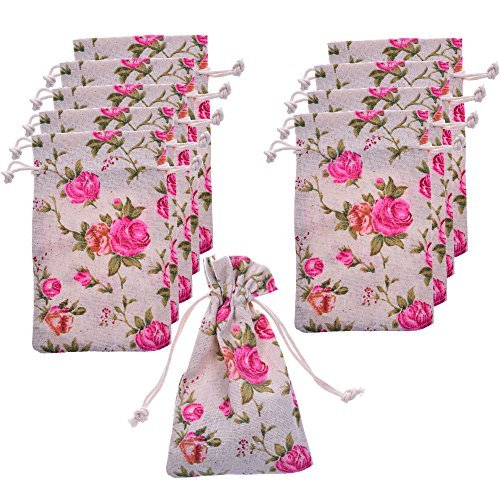BCP Pack of 10pcs 3.5 X 6 Inch Roses Pattern Double Drawstring Linen Bags Burlap Drawstring Bag/ Gift Bag Pouch for Party / - Burlap Linen Vintage Roses