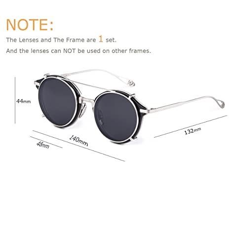 706bc697ba Amazon.com  Dollger Clip On Double Lens Round Sunglasses Steampunk Mirrored  Sunglasses  Clothing
