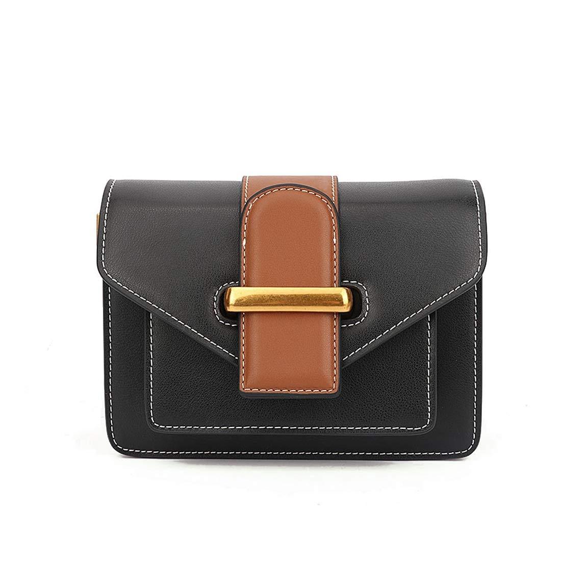 Wine Red AIYAMAYA Simple Retro Belt Buckle Small Square Leather Shoulder Bag Messenger Bag