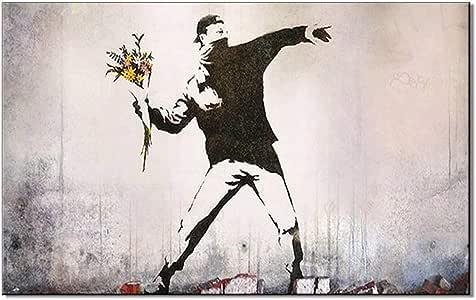 Obras De Arte De Banksy Street Sobre Lienzo Arte De Pared Rabia El Lanzador De Flores Cuadros De La Pared Del Pop Moderno Pinturas Pintura De Lienzo Gris Street Art Sin Marco,60x80cm:
