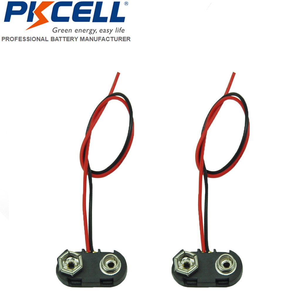 2 Pack PP3 MN1604 9V Battery Holder Clip Snap On Connector Cable Lead Black PKCELL