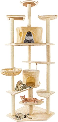 Festnight 80 Multi-Level Cat Tree Condo with Scratching Post Stair Cute Sisal Rope Plush Cat Climb Tree Pet Play House Kitten Activity Tower Furniture