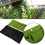 Planting Bags, 36 Pockets Wall Hanging Gardening Planter Outdoor Indoor Vertical Greening Grow Bags, Green