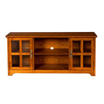 Rustic Media Center Audio Video TV Stand Cabinets Centered Shelf Low Wooden  Oak Gaming Living Family