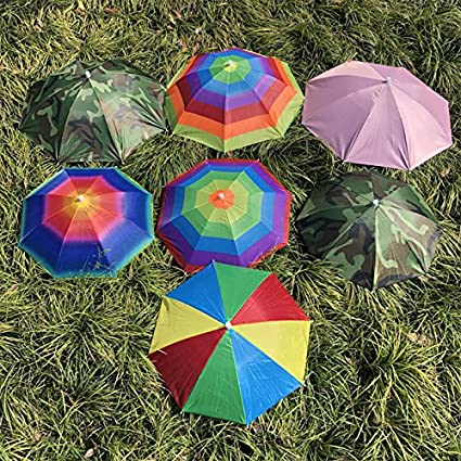 ONEVER Pesca plegable paraguas de Sun Senderismo Campo de camping casquillo de Headwear cabeza sombrero al