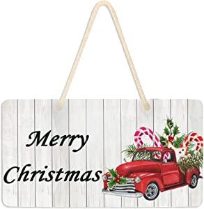 Vdsrup Watercolor Christmas Xmas Hanging Plaque Sign Red Truck Sweets Holly Leaves Berries Door Sign Plaque with Hanging String Decorative Hanging Sign for Front Door Home Yard Garden Decor 6x11