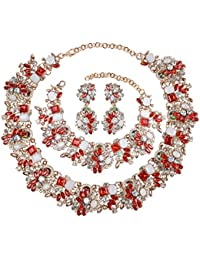 6 Colors Crystal Vintage Statement Necklace Earring Bracelet Jewelry Set come with Gift Box