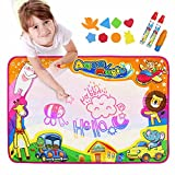 Aqua Doodle Pad,Baztoy Kids Toys Large Magic Water Doodle Drawing Toddlers Painting Board Writing Mat with 6 Colors 2 Magic Pens and 1 Brush for Boys Girls Educational Gift Size 34.5 X 22.5 Inches