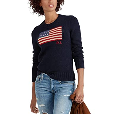 POLO RALPH LAUREN Women - Blue cotton crewneck jumper with ...