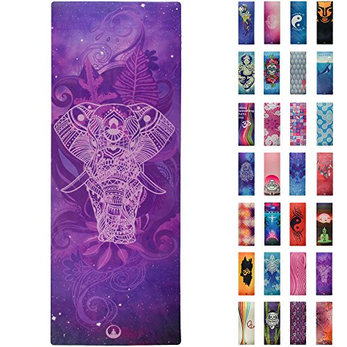 Printed Yoga Mat  Prana Yoga Mat  Bikram Yoga Mat - Incredibly Comfortable Yoga Mats for Men and Women - Gorgeous Microfiber Printed Designs – Purple Sacred Elephant - Tranquility - Soul Obsession