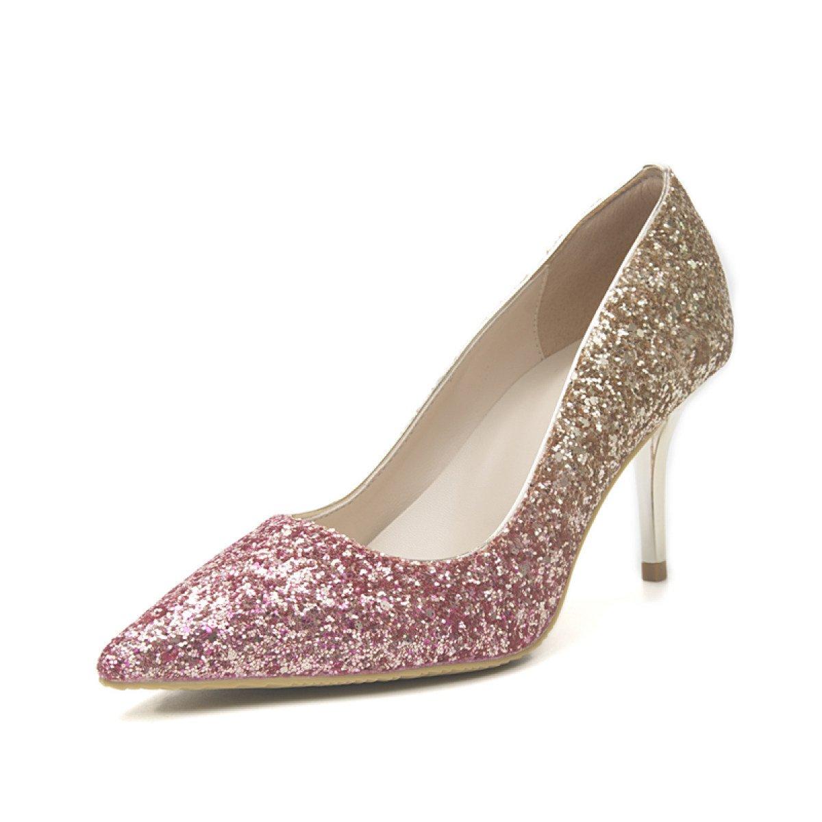 Damenschuhe Damen Herbst High Heels Pailletten Pailletten Heels Stöckelschuhe Schuhe Silber Heels Etikette Hochzeitsschuhe Purplegold(8cm) 7e5f84