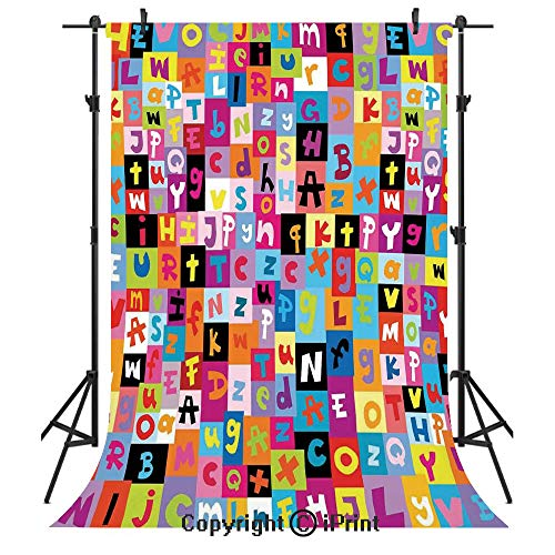 (Abstract Photography Backdrops,Colored Alphabet Letters Pattern Education School Puzzle Children Graphic Print,Birthday Party Seamless Photo Studio Booth Background Banner 6x9ft,Multicolor)