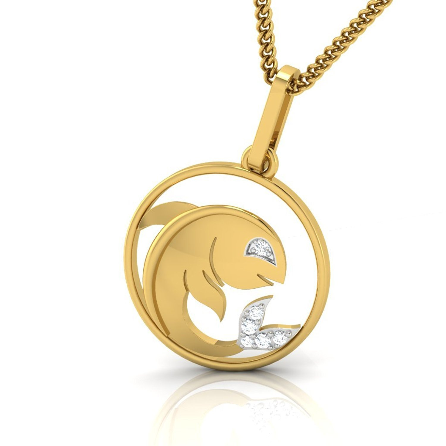 Suhana Jewellery Simulated Diamond Studded Zodiac Icon PISCES Sign Pendant Necklace in 14K Yellow Gold Plated With Box Chain