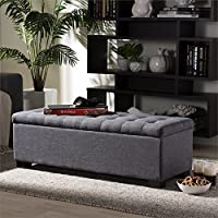 Baxton Studio Roanoke Storage Bench in Dark Gray