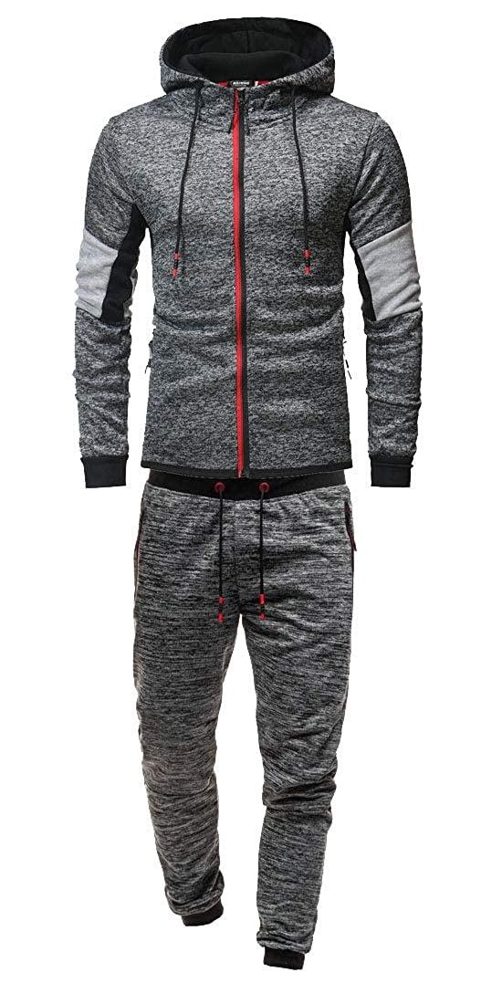 Men Athletic Zipper Hoodie Pants 2 Pieces Sports Joggers Tracksuits