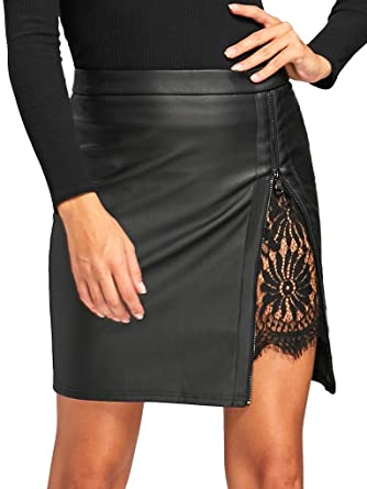 6fd2ee5da Amazon.com: Fenxxxl Women's Plus Size Black Leather Lace Cut Out High Waist  Bodycon Casual PU Mini Skirt F21 Black 4XL: Clothing