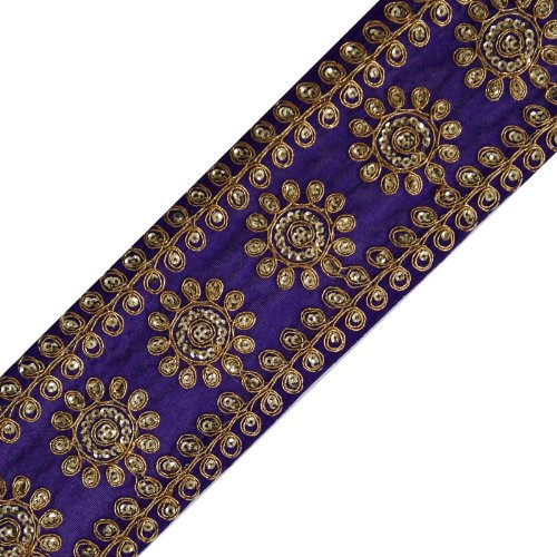 Blue Sequin Fabric Trim Traditional Floral Lace Sewing Apparel Border Tape By The (Blue Fabric Borders)