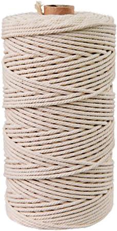 Supvox Cuerda de algodón macramé de 4 mm * 110 yardas cuerda de algodón retorcido para hacer artesanías de pared hechas a mano (4 mm): Amazon.es: Hogar