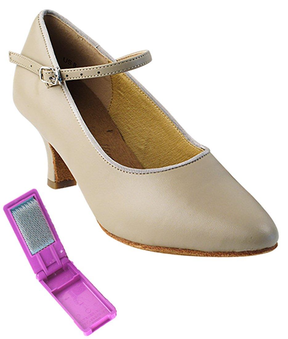 Very Fine Ballroom Latin Tango Salsa Dance Shoes Women SERA5522 2.5-inch Heel + Foldable Brush Bundle - Beige Leather - 8.5