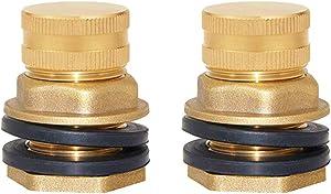 Joywayus Brass Male Garden Hose Bulkhead Fitting Drain/Flush Port Kit, 2 Pack