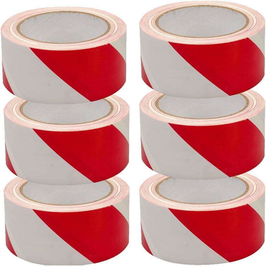 24X TAHA 50mm x 33m Hazard Warning Red /& White Tape Safety Lane Strip Making Barrier