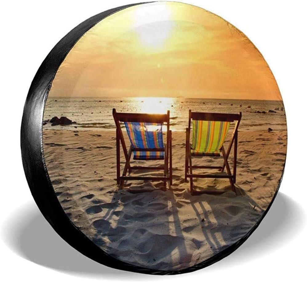 Olive Croft Cubierta de llanta Silla de Playa en la Playa con Sunset Cubierta de llanta de Repuesto Apta para Remolque, RV, Todoterreno, Rueda de camión 14-17inch