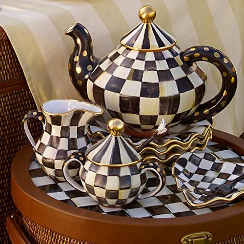Brand New with Tag MacKenzie-Childs Courtly Check Sugar Bowl with Lid 6.5'' dia., 5.5'' tall, 8 oz. Capacity