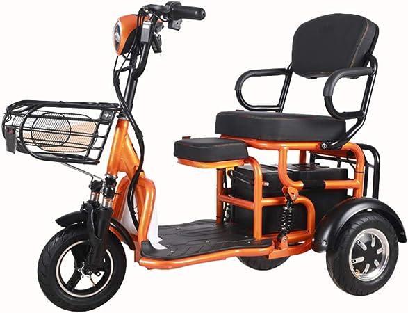 WM Triciclo eléctrico para Adultos Bicicleta Plegable de 3 Ruedas de 10 Pulgadas con Asiento para niños Coche para Padres e Hijos 500w48v 20ah Triciclo portátil para Ancianos,Naranja: Amazon.es: Hogar
