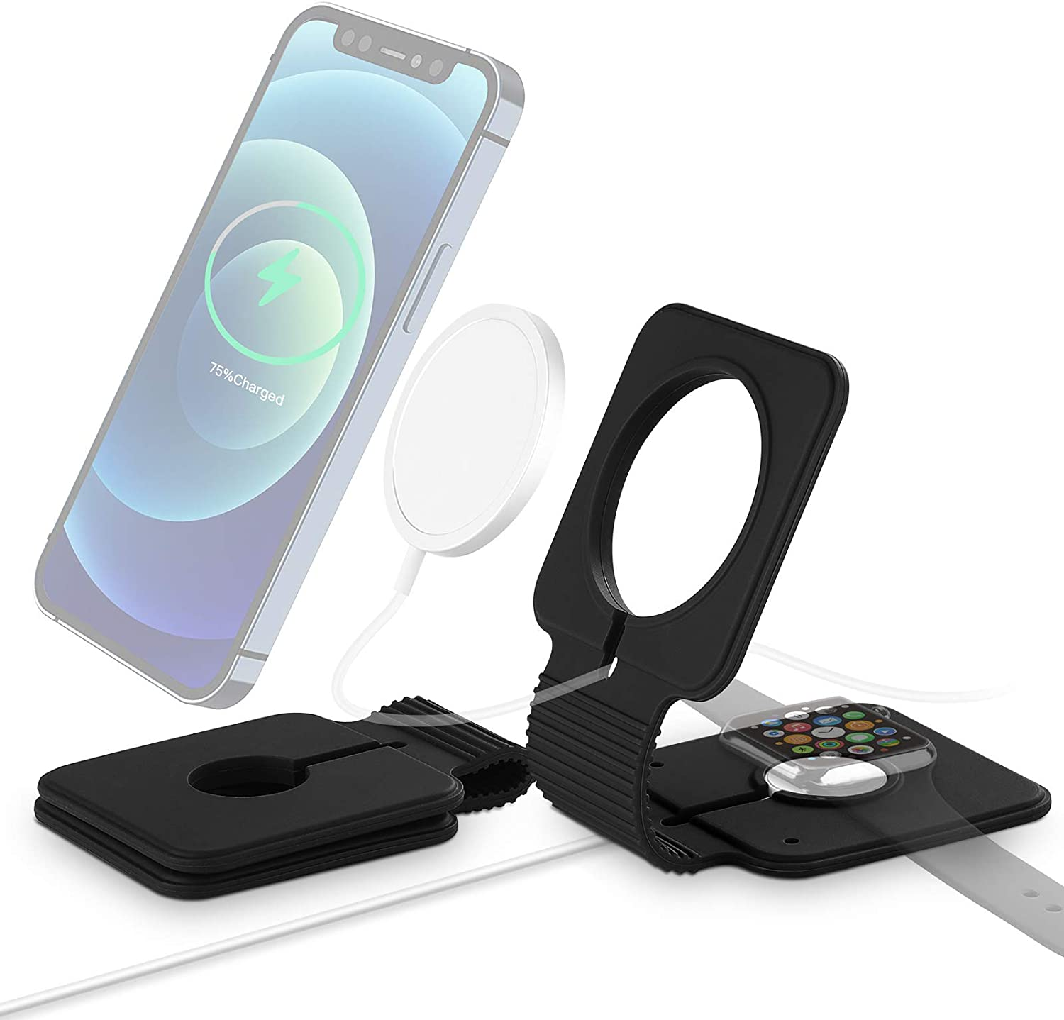 ABCOOL Bendable Phone Stand for Magnetic MagSafe Charger Compatible with iPhone 12 and Watch, 2in1 Adjustable Anti-Slip Silicone Phone Holder