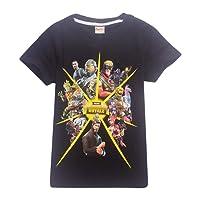 AILIENT Unisexe Garçon Fille T-Shirt d'été Fortnite Enfant Jeux Vidéo Top Geek Battle Royale Manches Courtes Haut Ado Col Rond