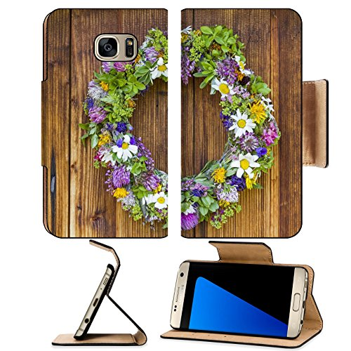 MSD Premium Samsung Galaxy S7 Edge Flip Pu Leather Wallet Case fresh flower wreath at the door of an old hut IMAGE - Hut Image