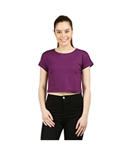 Ap'pulse Women's Plain Regular fit Top (AP-WM-RN-SS-CROPTOP-344_Lilac_L)