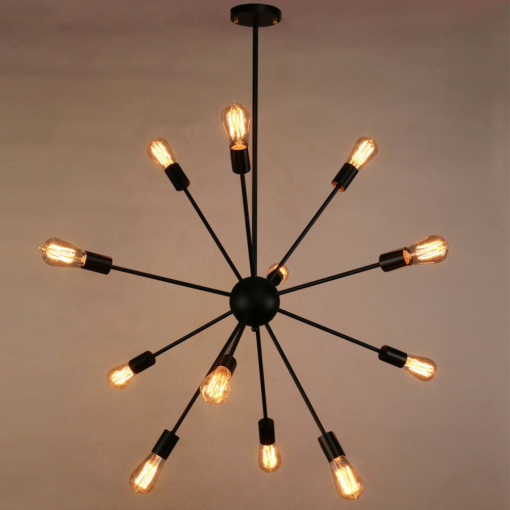 Sputnik chandelier naturous 12 lights pendant lighting painted sputnik chandelier naturous 12 lights pendant lighting painted black modern sputnik light vintage ceiling light fixture ul listed amazon aloadofball Image collections
