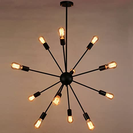 Sputnik ChandelierNaturous 12 Lights Pendant LightingPainted Black Modern Light Vintage