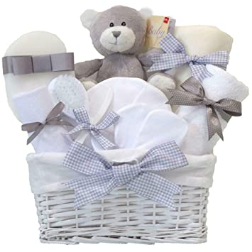 Shimmer Newborn Unisex Baby Gift Hamper Basket Set Boy Girl Grey
