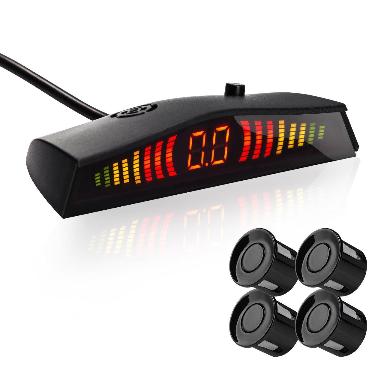 Favoto Car Reverse Backup Radar System Parking Sensor Kit Safety Alert with 4 Parking Sensor Distance Detection and LED Display Warning Alarm (Black)