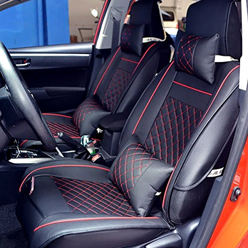 Amooca Auto Car Seat Covers Full Set 5 Seats Luxury PU Leather Airbag Compatible for Most car,SUV,Van,3D Model Design Black/&Red