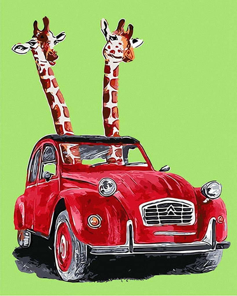 18CT Mono Deluxe,12 X 15 Giraffes in Red Vintage Car Hand Painted Design Needlepoint Canvas A00305