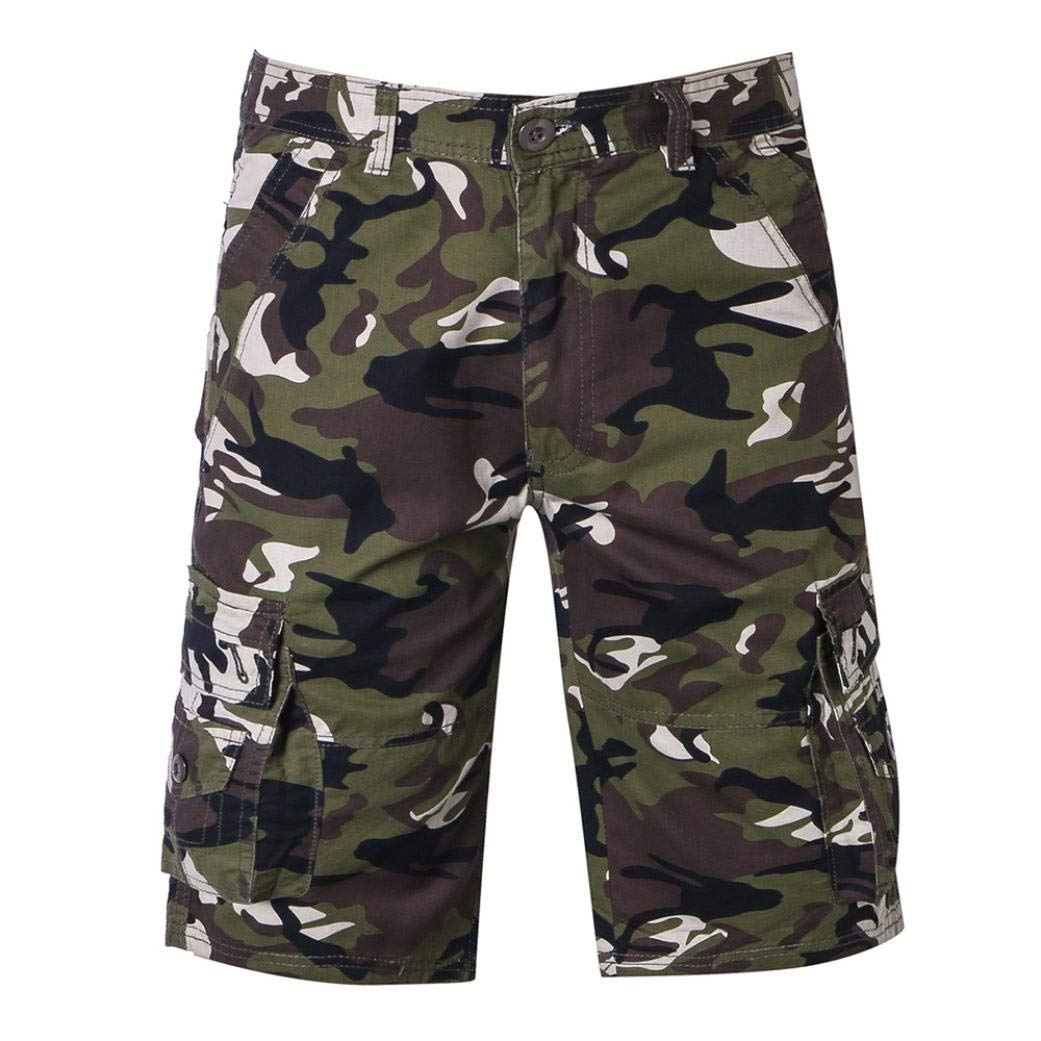 Dacawin Multi-Pockets Casual Cargo Shorts Pants Men Relaxed Fit Outdoors Work Camouflage Beach Trousers
