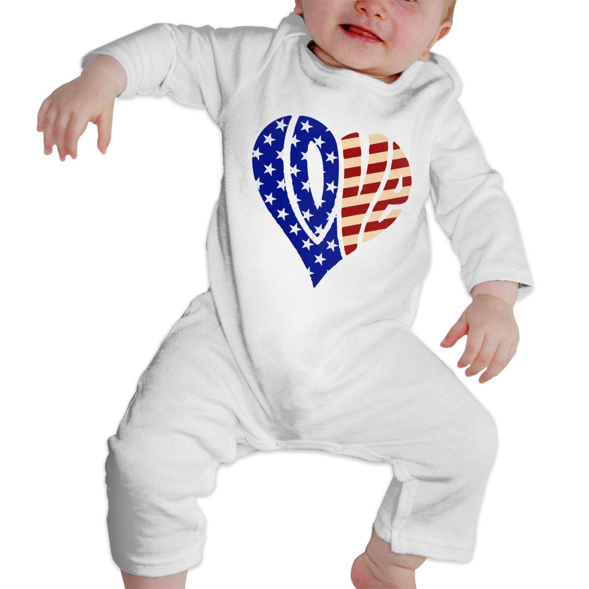Newborn Baby Long Sleeved Coveralls Love America Baby Rompers