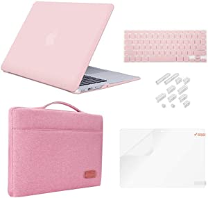 MacBook Pro 13 Inch Case 2019 2018 2017 2016 Release A2159/A1989/A1706/A1708, iCasso Hard Plastic Case, Sleeve, Screen Protector, Keyboard Cover & Dust Plug Compatible MacBook Pro 13'' - Rose Quartz