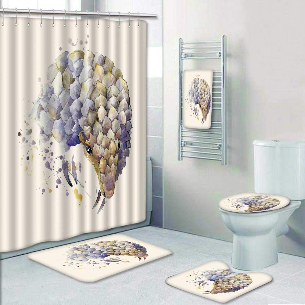 Philip-home 5 Piece Banded Shower Curtain Set African Animals Armadillo with Splash Watercolor Textured Pattern Printing Suit by Philip-home