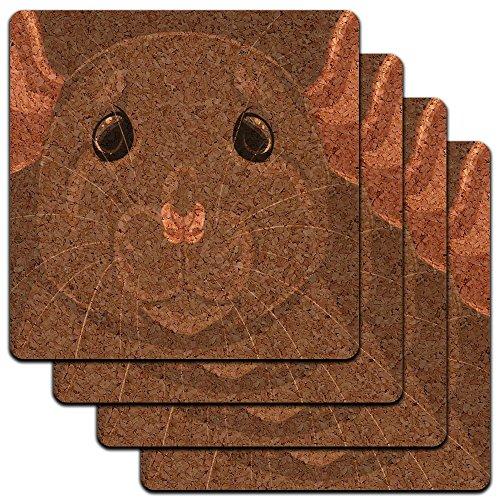 Dumbo Rat - Dumbo Rat Pet Mouse Rodent Low Profile Cork Coaster Set